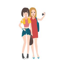 Pair young women dressed in fashionable vector