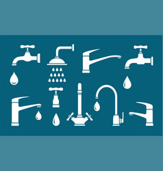 plumbing set white isolated tap shower icons vector image