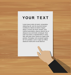 pointing hand with document vector image