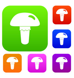 poisonous mushroom set color collection vector image