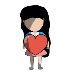 Pretty girl with heart in the hand and casual wear vector