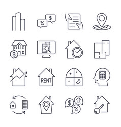 real estate icons professional pixel perfect vector image