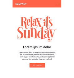 Relax it is sunday vector