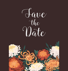 romantic floral vertical template with save the vector image