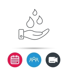 Save water icon Hand with water drops sign vector