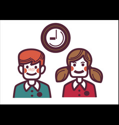 school children in uniform and clock showing time vector image