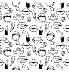Seamless pattern with fashion patches vector
