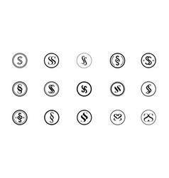 set black and white round ss monogram logo vector image