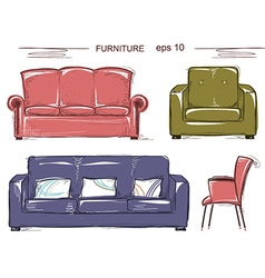 set couch and armchairs color sketchy vector image