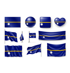 Set nauru realistic flags banners banners vector
