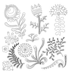 set of floral graphic design elements for coloring vector image