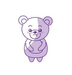 Silhouette cute bear wild animal with face vector