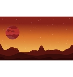 Silhouette of desert and planet on space vector
