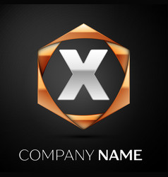 Silver letter x logo symbol in golden hexagonal vector