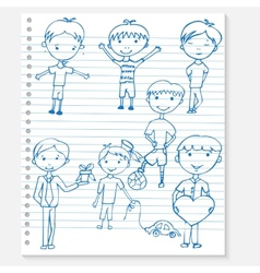 Sketch kids on a notebook vector