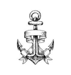 Sketch of retro nautical anchor with wavy banner vector image