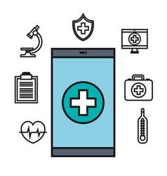 smartphone medical technology app online design vector image