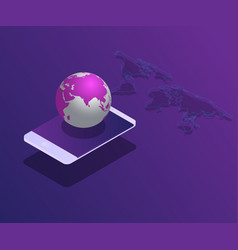 Smartphone with world and map isometric vector