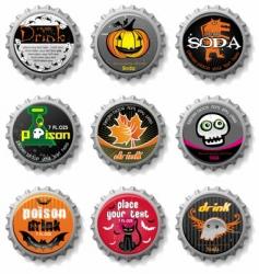 spooky Halloween bottle caps vector image