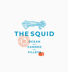 squid ocean canned fillets abstract vector image