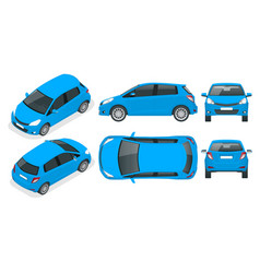 subcompact blue hatchback car compact hybrid vector image