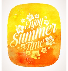 Summer time greeting with Tropical flowers vector image