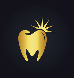 Tooth dental shine abstract gold logo vector