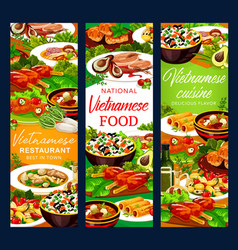 Vietnamese restaurant asian dishes with desserts vector