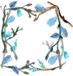 Watercolor leaves and branch background vector image