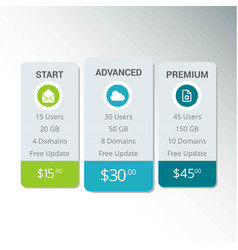 web boxes hosting plans eps10 vector image