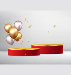 Winner podium with gold confetti celebration vector