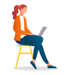 woman sitting on stool and working with laptop vector image