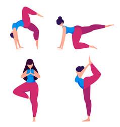 yoga practice woman doing sport exercises vector image