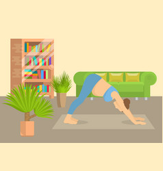 young woman in yoga posture at home living room vector image