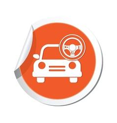 car with rudder icon orange label vector image