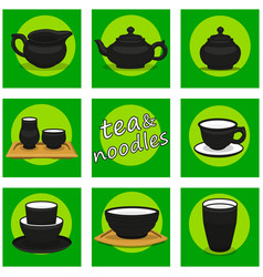 chinese utensils icon set tea and noodles vector image