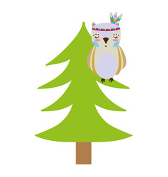 Colorful ethnic owl animal in pine tree vector