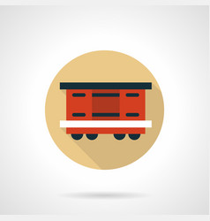 Covered wagon beige round icon vector