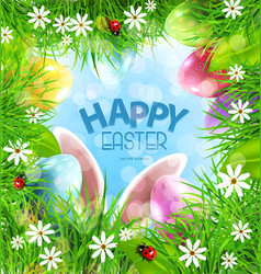 easter background with rabbit ears eggs vector image vector image