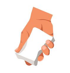 Human hand holding white duster for cleaning or vector