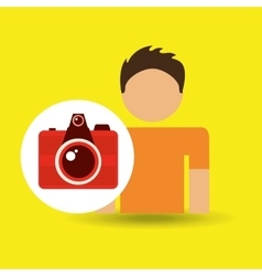 male character traveler photo camera vector image vector image