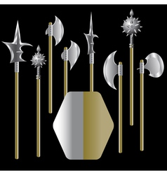 medieval weapons and shield vector image vector image