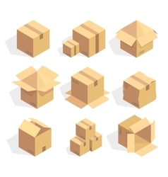 Open and closed delivery cardboard icons set vector image vector image