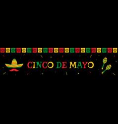 sombrero and maracas cinco de mayo web banner vector image