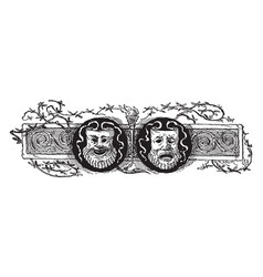 Theater mask divider with theater masks and vines vector