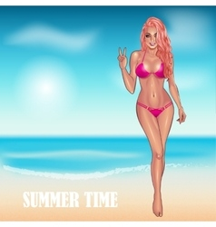 Beautifil young woman in purple bikini vector image vector image