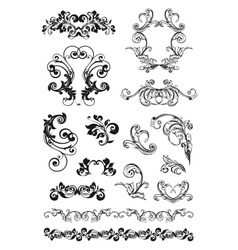 Calligraphic design set vector image vector image