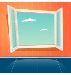 Cartoon Open Window Design Template Retro vector image