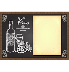 Hand drawn wine menu on chalkboard vector image