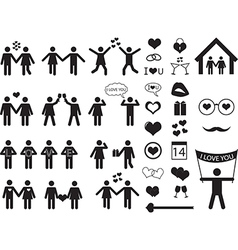 People pictogram for Valentine Day vector image vector image